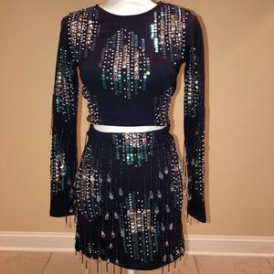 Asos Navy Beaded Sequin Co-ord Crop Top Skirt Set